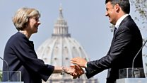Theresa May and Matteo Renzi on UK-EU relations after Brexit