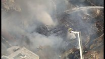 Aerial footage shows scale of seaside blaze