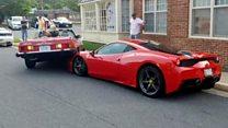 США: водитель Mercedes наехал на дорогущий Ferrari