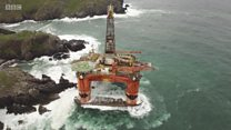Drone footage of stranded oil rig