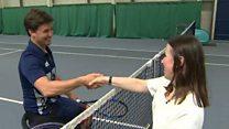 Tennis novice takes on Wimbledon champion