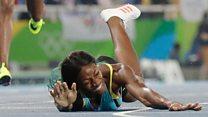 La bahameña Shaunae Miller se lanza a la pista para cruzar la línea y da Silva gana oro en salto con pértiga para Brasil