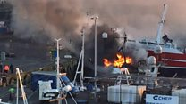 Trawler on fire in Peterhead harbour