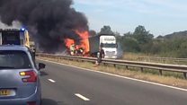 Lorry fire closes road