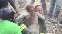 Children pulled from rubble alive