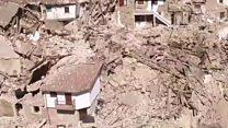 La destrucción del terremoto en Italia vista desde el aire
