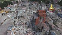 Imagens de drone mostram vilarejo destruído após terremoto na Itália