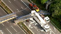 Aerial view of M20 footbridge collapse