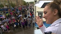 Olympic medal-winning gymnast's welcomed home