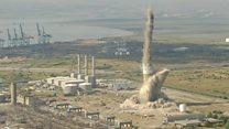 Chimney demolished at power station