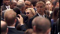 クリントン氏、ふらつき支えられ車に 9/11式典で