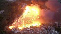 Fire rips through favela