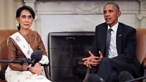 Aung San Suu Kyi visits the US as leader