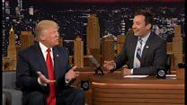 【米大統領選2016】トランプ氏の髪をぐしゃぐしゃに 米トークショー