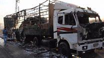 Calcinados por el fuego: así quedaron los camiones de ayuda humanitaria de la ONU bombardeados cerca de Alepo