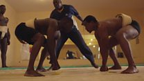Senegal fighters wrestle with sumo