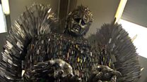 Knife Angel made out of 100,000 weapons
