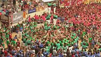Human tower competition in Tarragona