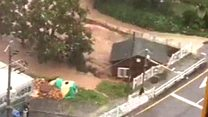 House floats away in S Korea typhoon