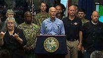 तूफ़ान पर फ़्लोरिडा में चेतावनी