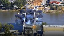 Bridge demolition proves challenging
