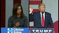 【米大統領選2016】女性蔑視問題でトランプ氏とミシェル・オバマ夫人