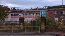 Firefighters tackle derelict school blaze