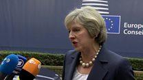 Theresa May arrives at EU summit