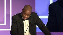 First US author to win Booker chokes up