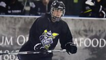 Justin Bieber scores in a game with Manchester Storm ice hockey team