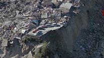 Aerial footage of Italy quake devastation