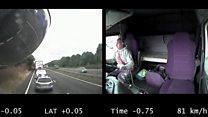 Dash cam footage shows lorry crash driver