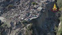 Imagens aéreas mostram rastro de destruição após novo terremoto na Itália