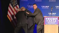 Moment Trump rushed off stage in alert