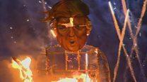 بالفيديو: حرق دمية لترامب في احتفالات بونفاير جنوب لندن