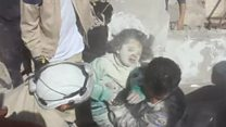 Children pulled from from Syria rubble