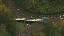Aerial view of Croydon tram crash