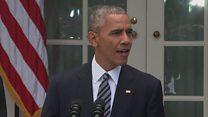 الرئيس اوباما يهنئ ترامب ويدعوه الى البيت الابيض