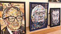 Artist creates portraits from ripped up magazines