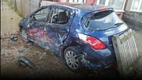 Triple car crash leaves trail of damage