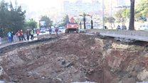 Massive sinkhole in Algerian road