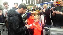 Fans' delight at Barcelona FC players