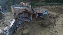 Drone mostra devastação causada por enchentes e deslizamentos de terra na Itália
