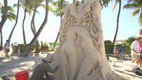 لوحات رملية ضخمة على شواطىء فلوريدا