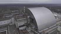Giant shield-like structure covers nuclear reactor