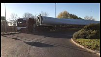 Giant turbine blade transported