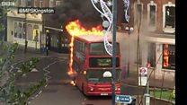 Watch: Bus on fire in Kingston