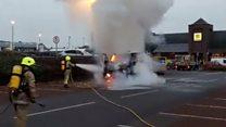 Van fire in shop car park
