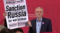 Corbyn speech descends into chaos