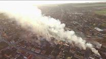 Aerials reveal Bulgaria train debris